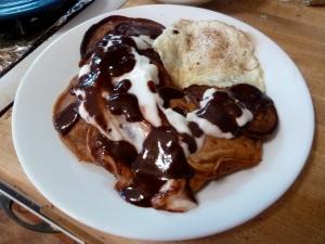 Plated Chocolate Pancakes with Yogurt & Chocolate Sauce © CKatt
