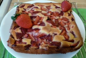 Strawberry Sour Cream Cake copyright CKatt 2014
