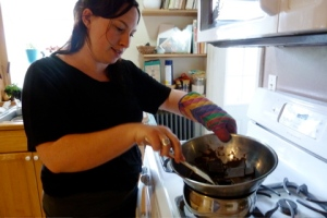Alicia melts the chocolate for the frosting © CKatt