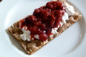 WASA Brod with Cottage Cheese and Homemade Strawberry Jam. CKatt July 11, 2014