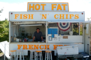 Hot Fat Fish Shack on Monehegan Island Maine