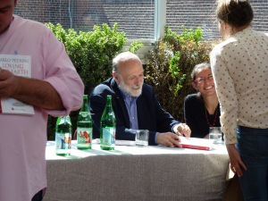 Carlo Petrini signing copies of his new book at Eataly, NYC.