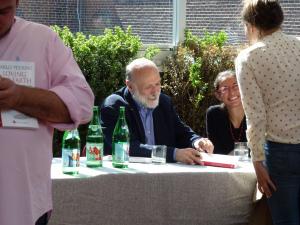 Carlo Petrini signing copies of his new book at Eataly, NYC.