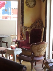 Antique chair inside the cafe